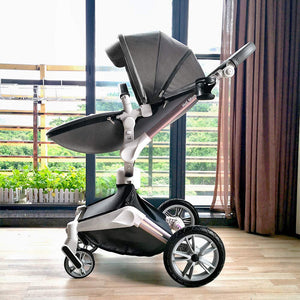 3 in 1 Leather Hot Mom Stroller  High Landscape Folding Chair 360 Degree Rotation Luxury Pram With Bassinet