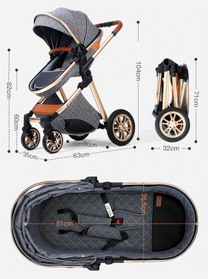 3 in 1 Luxury Baby Stroller High Landscape Two-Way Design With Car Seat Travel System Combo Baby Carriage