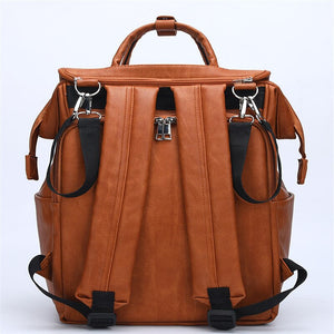 PU Leather Backpack nappy bag for baby care Large Capacity diaper bag backpack for Infant Mom in Brown Stroller Organizer Bags