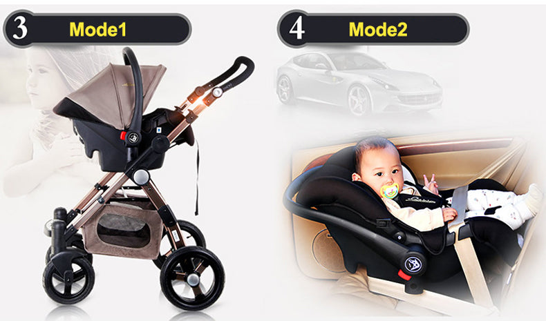Baby Stroller 3 In 1 With Car Safety Seat Baby Carriage Prams