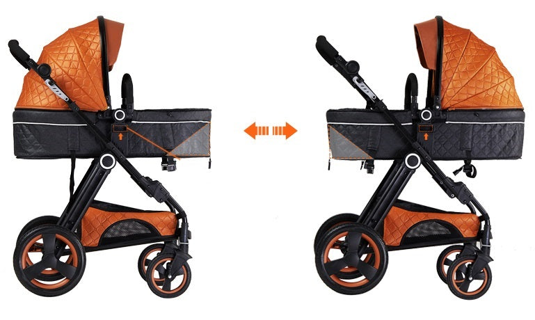 Bolina Brand Luxury Leather Baby Stroller Bassinet Design Baby Carriage Travel System Pram