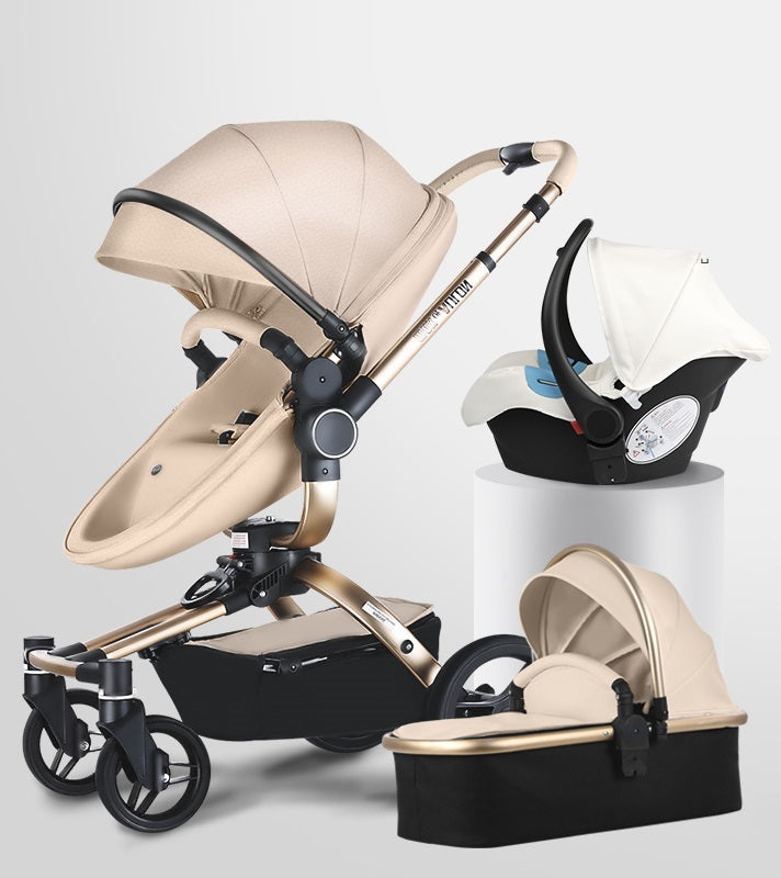 Maxo Of Aulon Brand Baby Stroller 3 in 1 With Car Seat High View Pram For Newborns Folding 360 Degree Rotation