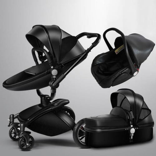 Baby Stroller 3 In 1 With Car Seat High View Pram For Newborns Folding 360 Degree Rotation - Black ( 3 In 1) - Stroller