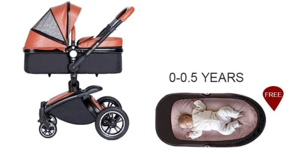 Baby Stroller 3 In 1 With Car Seat High View Pram For
