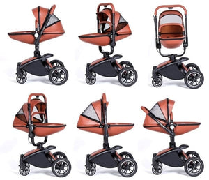 Baby Stroller 3 In 1 With Car Seat High View Pram For Newborns Folding 360 Degree Rotation - Stroller
