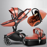 Baby Stroller 3 In 1 With Car Seat High View Pram For Newborns Folding 360 Degree Rotation - Brown ( 3 In 1) - Stroller