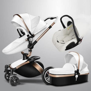 Baby Stroller 3 In 1 With Car Seat High View Pram For Newborns Folding 360 Degree Rotation - White ( 3 In 1) - Stroller