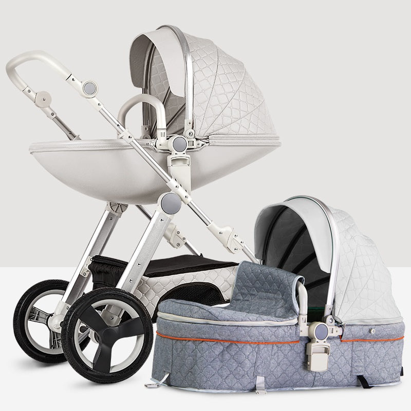 Luxury Leather Baby Stroller Bassinet Design Baby Carriage Travel System Pram