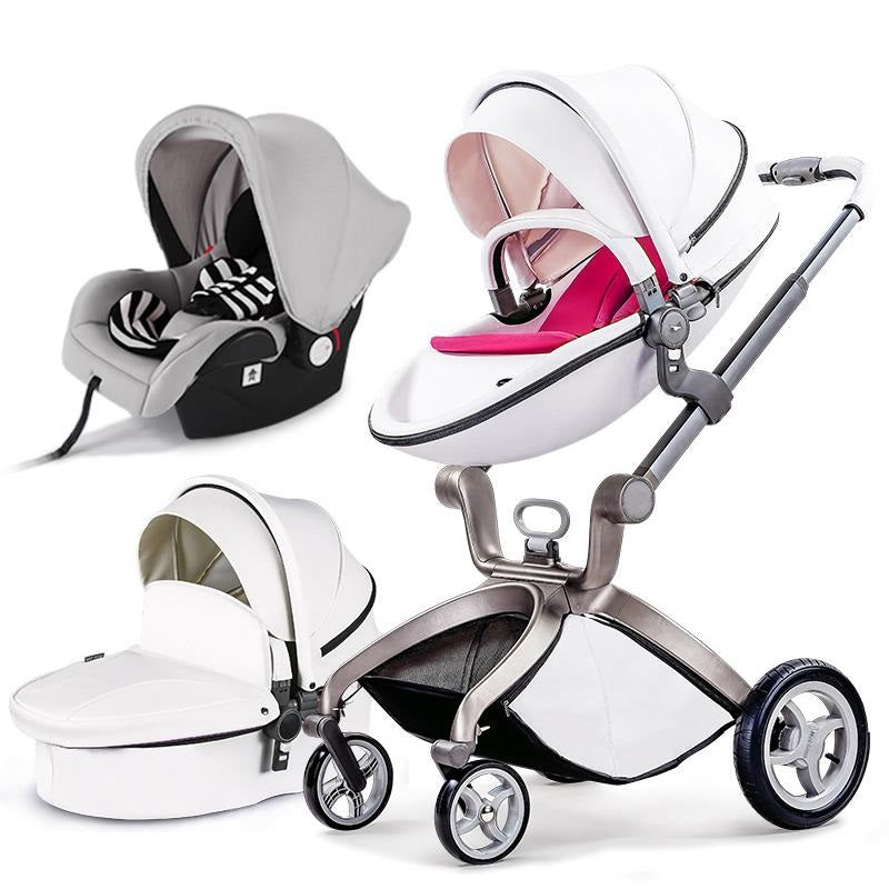 Luxury Baby Carriage High Landscape 3 In 1 Baby Stroller With Crib