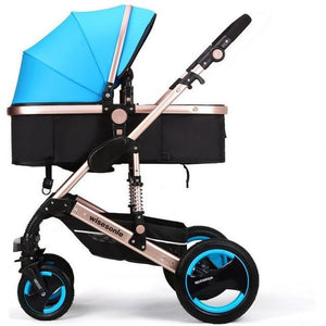 Luxury Newborn Baby Foldable Anti-shock High View Carriage Infant Stroller Pushchair - Blue