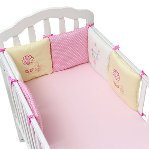 Pack of 6 100% Cotton Percale Breathable Padded Mesh Crib Bumper Pad