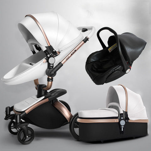 leather baby pram stroller 2 way shock proof many colors. Black Bedroom Furniture Sets. Home Design Ideas