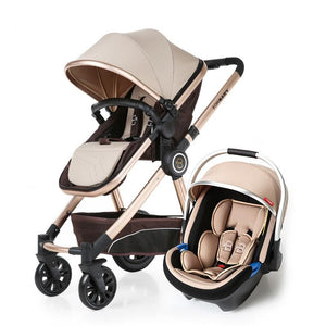 Luxury Baby Stroller 3 in 1 High Landscape Baby Carriages Pram