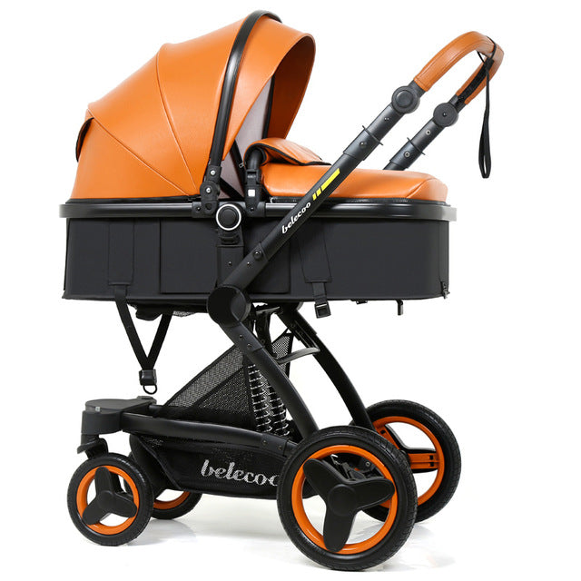 Luxury Leather Baby Stroller High-landscape Baby Carriage Pram