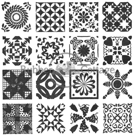 16 Different Quilt Block Design Stamp Rubber