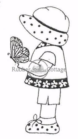 Annie With Butterfly Rubber Stamp