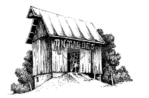 Antique Barn Rubber Stamp