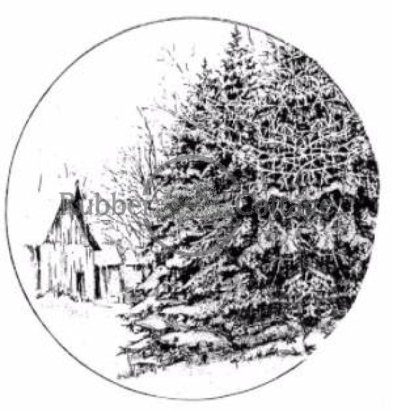 Barn 4 Snow Globe Rubber Stamp
