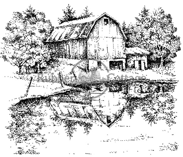 Barn Lake Rubber Stamp