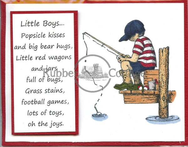 Boy Fishing Rubber Stamp