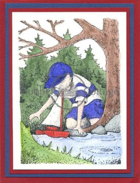Boy Sailing Rubber Stamp
