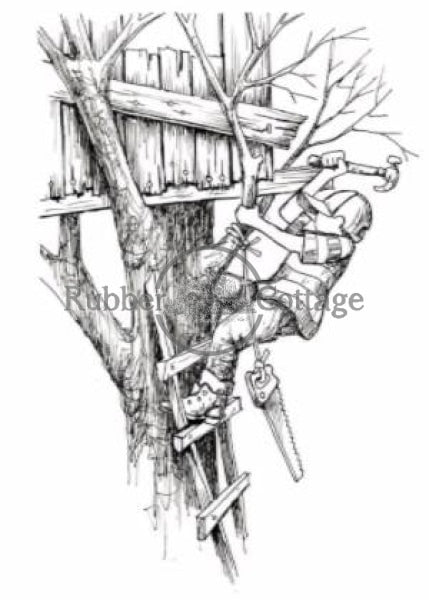 Boy Tree House Rubber Stamp