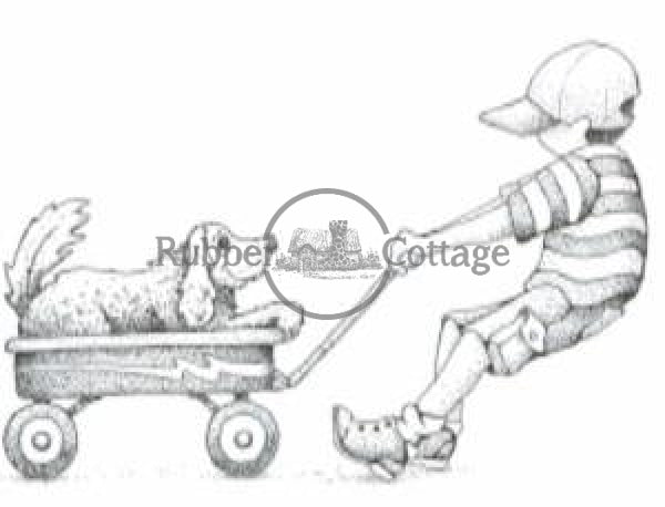 Boy With Wagon Rubber Stamp