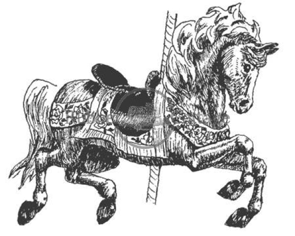 Carousel Horse Sm Rubber Stamp