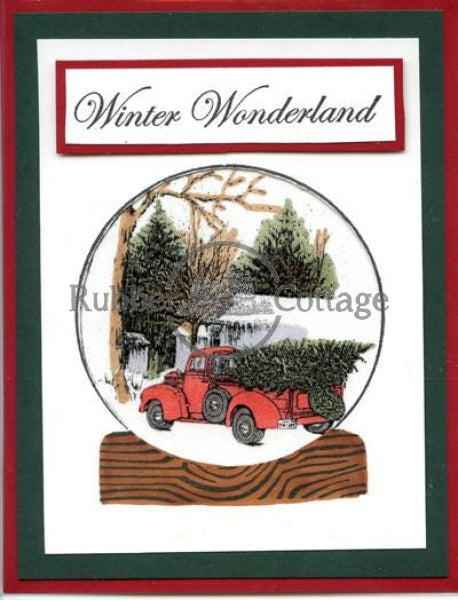 Christmas/snowglobe Rubber Stamp