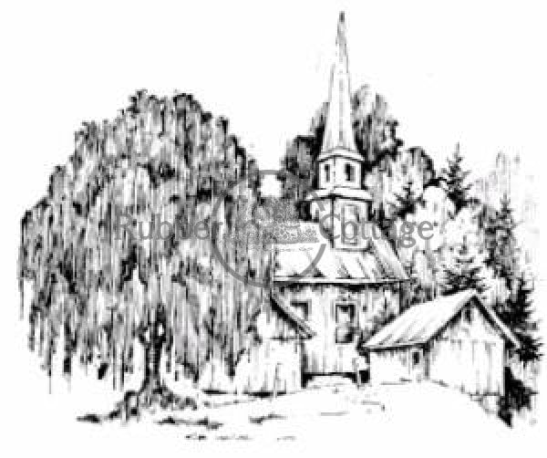 Church In Woods Rubber Stamp