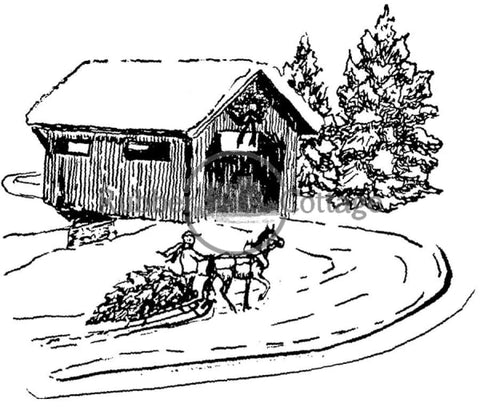 Covered Bridge 1A Rubber Stamp