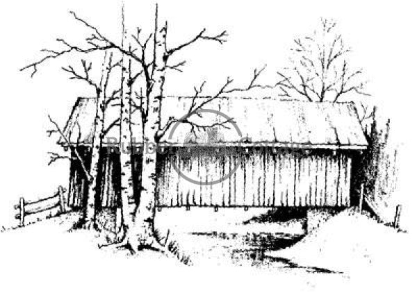 Covered Bridge 2 Rubber Stamp