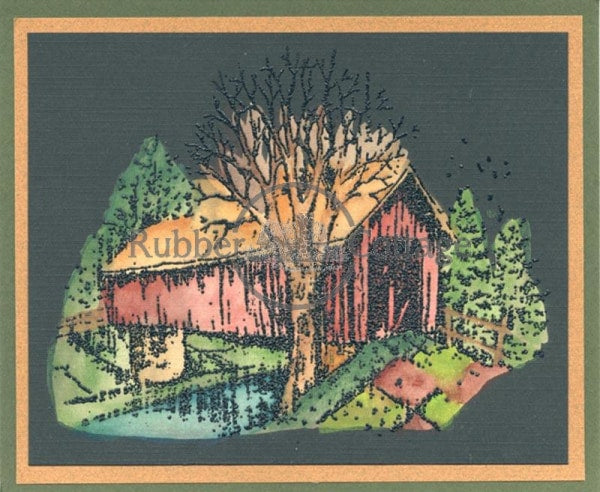 Covered Bridge Rubber Stamp