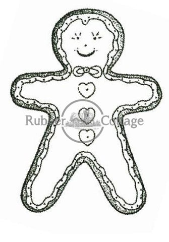 Gingerbread Boy Small Rubber Stamp