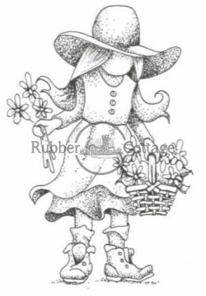 Girl With Flowers Rubber Stamp