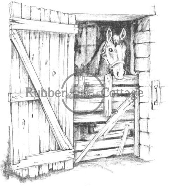 Horse Barn Stall Rubber Stamp
