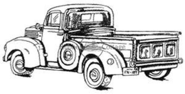 Old Pickup Rubber Stamp