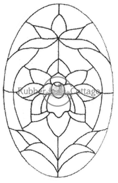 Oval Stained Glass Rubber Stamp