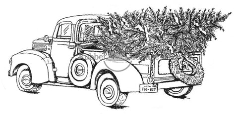 Pickup Truck W/tree Rubber Stamp