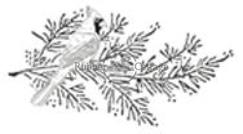 Pine W/bird Rubber Stamp