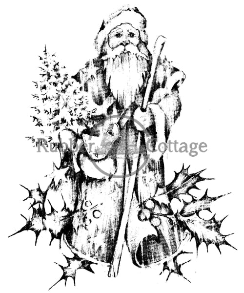Santa W/holly Rubber Stamp