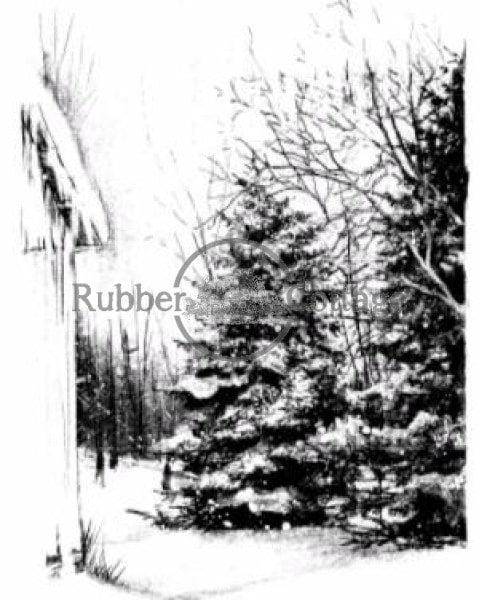Scenes Of Winter Rubber Stamp