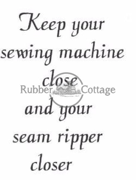 Seam Ripper Rubber Stamp