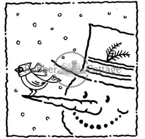 Snowman Face Rubber Stamp