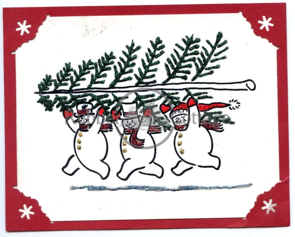 Snowmen W/tree Rubber Stamp