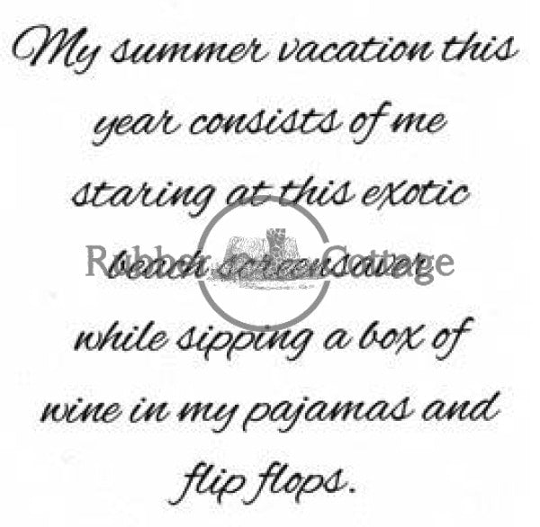 Summer Vaction Rubber Stamp