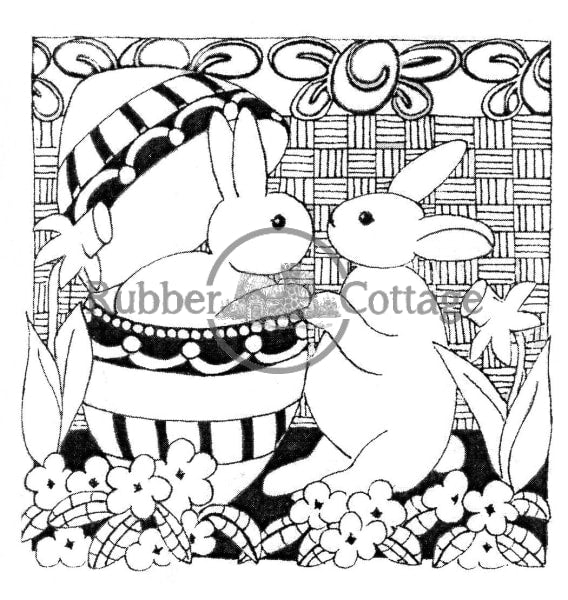 Two Bunnies Rubber Stamp