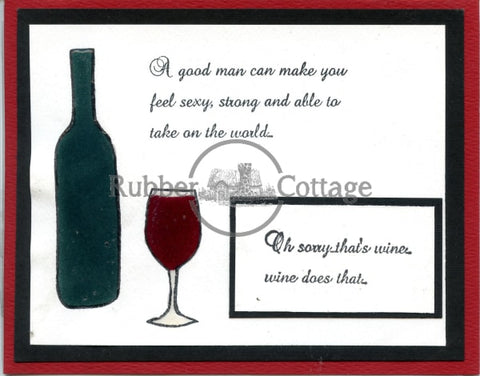 Wine Bottle Rubber Stamp