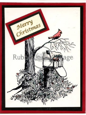 Winter Mail Box Rubber Stamp