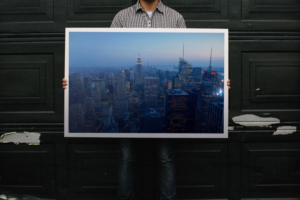 New York at Dusk on Brushed Metal